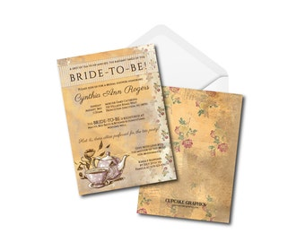 A Tea Party Bridal Shower Invitation - Floral, Whimsical and Victorian - Digital File