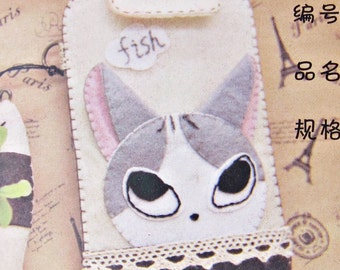 DIY Felt Grey Cat Mobile Phone Bag, Sew for kids, Easy Sewing Project, sewing pattern, Shine Kids Crafts