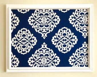 Navy Blue White Damask Fabric Covered Pin Board Jewelry Board Bulletin Board