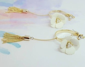 Designer Flower Tassel Imitation Dangle Long Drop Earrings Gold Earrings Bridal Bridesmaids Wedding Accessories Jewelry Gift For Women