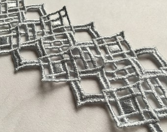Silver Venice lace trim
