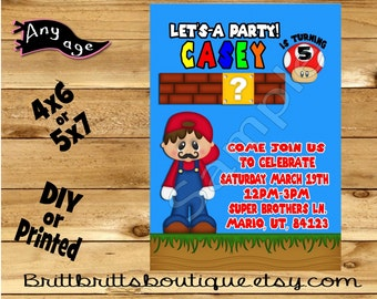 Video Game Invitation first Birthday party Invitations Gaming Custom Birthday invite 4x6 or 5x7 Digital OR Printed with envelopes