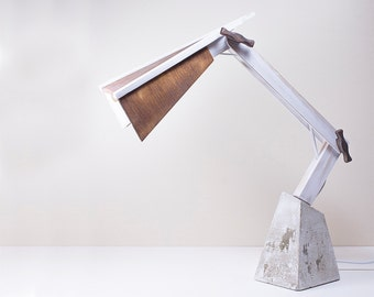 Desk lamp. Articulated. concrete and reclaimed wood.