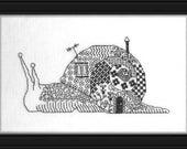 Snail (Escargot) – counted cross stitch chart. Monochrome design using black thread. Blackwork. French or English instructions. Snail design