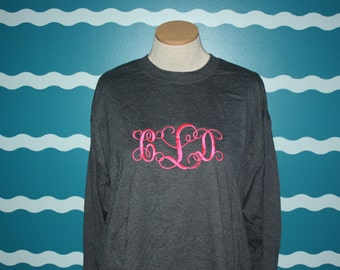 Monogram Long Sleeve t-shirt - Custom monogrammed shirt - Great perosnalized gift - Personalized long sleeve Tee - Custom monogrammed tee