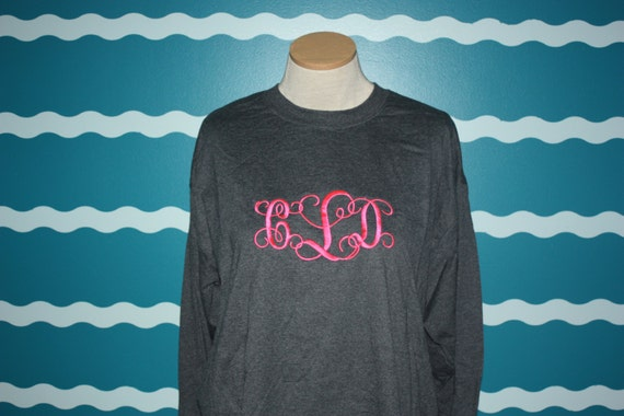 Monogrammed Long Sleeve t-shirt - Custom monogrammed shirt - Great perosnalized gift - Personalized long sleeve Tee - Custom monogrammed tee
