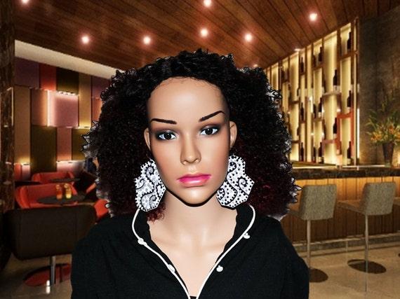 Gorgeous black and white hand painted earrings -  Leather earings - Silver earrings - Swirl design earrings
