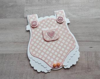 Baby Girl Overalls Card -- Baby Girl Card -- Baby Girl Shower Card -- Handmade Baby Girl Card