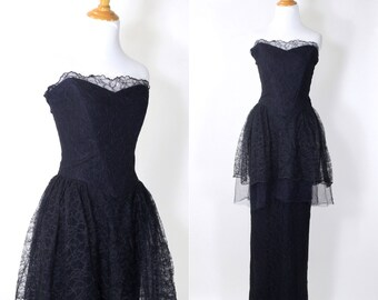 Vintage 1940s Dress | 40s Lace Peplum Strapless Formal Gown | Navy Blue | M L
