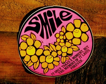 Vintage 70s LG Smile It Only Takes A Moment Hippie Vinyl Sticker