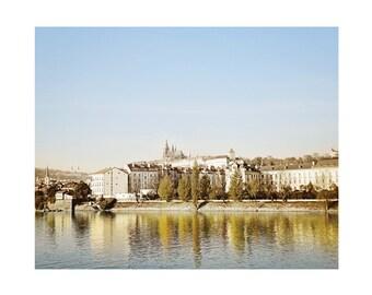 Prague Printable Artwork: Prague castle, Prague Czech Republic, Prague landscape, Czech Republic photograph, castle, water, Europe landscape