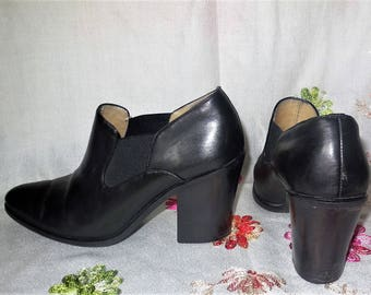 Genuine Leather Size 8.5 M Shoes Heels Black Western Style Casual Barn Boot