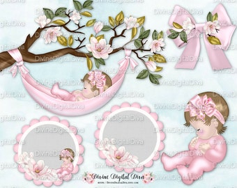 Sleeping Baby Magnolia Tree Branch Pink | Hammock Bow Circles Baby | Caucasian | Clipart Instant Download