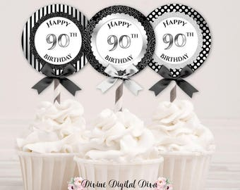 Cupcake Topper Circles 90th Birthday | Black & Silver | Digital Instant Download