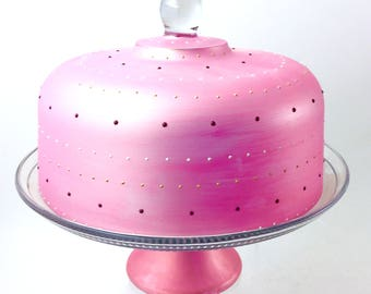 Pink Cake Dome | Cake Stand with Pedestal | Hand Painted Glass | Cotton Candy | Multi Purpose Cake Dome