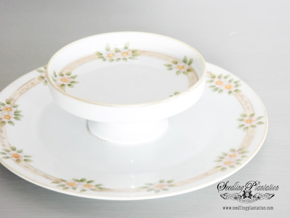 Vintage Floral Cake Stand, Appetizer Plate, Serving Dish-White and Gold Nippon