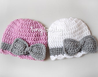 Twin Girl Hats, Pink and White Hats, Twin Baby Girl Hats, Twin Bow Hats, Newborn Twin Hats, Hats for Twin, Newborn Outfits, Bow Baby Hat