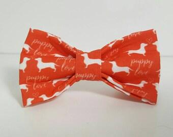 "Red ""puppy love"" dachshund print pet bow tie"
