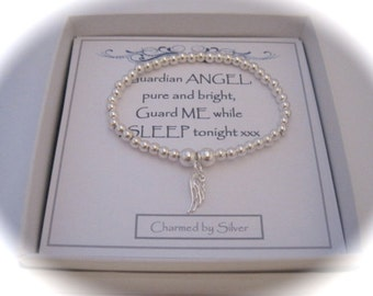 Sterling Silver Bead & Angel Wing stretch bead Bracelet with a message