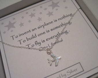 Sterling Silver Plane Necklace - a perfect gift for an avid flyer or someone who likes to venture to exotic places!