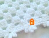Crochet Baby Blanket, Traditional Hand-Crochet Blanket, White, Pearl, Ivory, Cot Blanket, New Baby, Pram Topper, Reborn Doll, Newborn