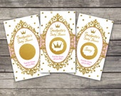 Baby Shower scratch off cards, Princess, scratch off tickets, party lottery cards, baby shower raffle, Princess Baby Shower, gold glitter