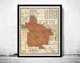 Old Map of Fresno California 1920