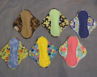 "8"" Momma cloth menstrual pads or incontinence pads - Flannel **Set of 6!**"