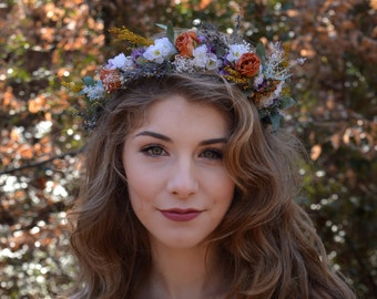 Bohemian Boho look Flower Crown Hair Wreath Floral Headband Wedding Hair  Baby's Breath Rose  Orange Purple photo prop music festival wear