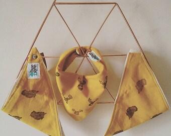 Baby Girl Bibs | Hand Stamped Owl & Bird | Birdy Bib | Owl Bib | 100% Organic Cotton | Hazel Tree
