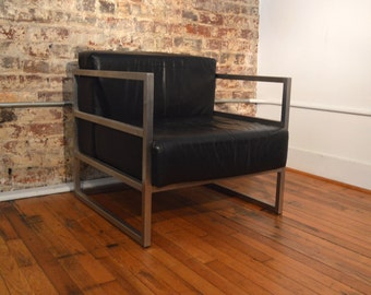 bauhaus style mid century modern leather and aluminum cube chair