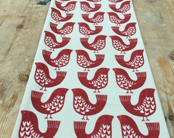Table runner, Christmas table runner, red bird table runner, scandinavian fabric,