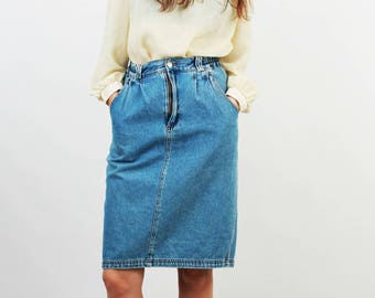 80s Jean Skirt / Denim Skirt / Midi Skirt / High Waist Skirt / Pencil Denim Skirt / Grunge / Medium