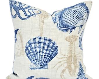 One indoor/outdoor nautical pillow cover, Sealife, decorative throw pillow, decorative pillow, accent pillow, pillow case