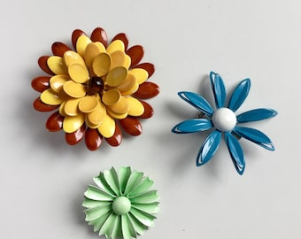 Vintage enamel Flower Power Brooch Pin Retro Mod Colours x 3