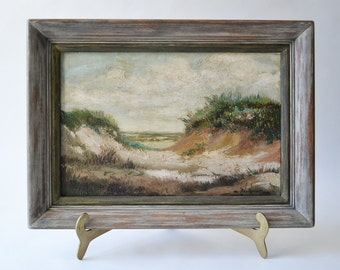 Antique Oil Painting by Chester Van Nortwick Cape Cod Provincetown Massachusetts Seacoast Scene Art Ocean Dunes Listed Artist