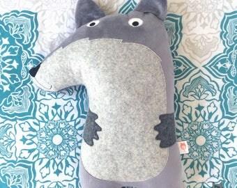Wolf cushion soft toy soft furnishing woodland themed nursery children's bedroom pillow plushie