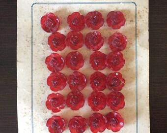 Model De Paris Vintage Red Rose 24 Buttons for Textile Clothes