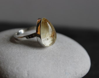 Topaz Tear Drop Ring, Sterling Silver