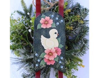 Painted Sled Ornament - Sled Sign - Painted Sled Sign - Sled Ornament - Christmas Ornament - Floral Wooden Sled - Painted Bird Wooden Sled