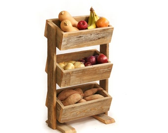 Potato bin – Vegetable bin – Scandinavian – Barn wood – Rustic kitchen décor – Handmade – Potato Onion Bin – Reclaimed wood stacked boxes