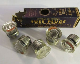 vintage fuse box vintage box of 5 pyrex fuse plugs ge 15 amp general electric new old stock