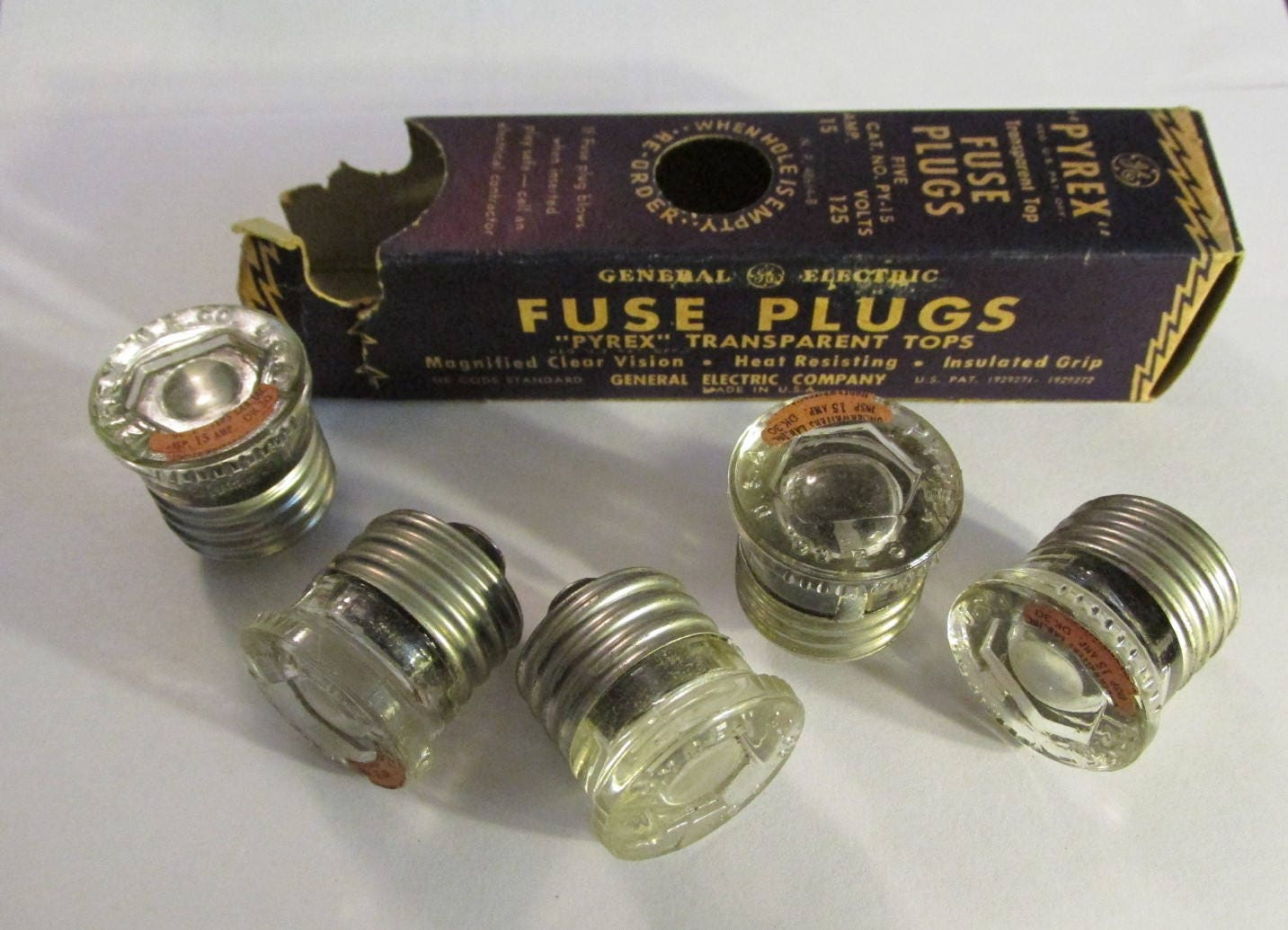 vintage 1930s box of 5 pyrex fuse plugs ge 15 amp general electric The Fuse Box Paisley The Fuse Box Paisley #81 the fuse box paisley