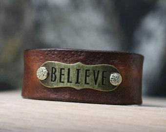 leather BELIEVE bracelete / wristband