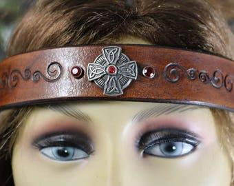 leather celtic cross headpiece/headband