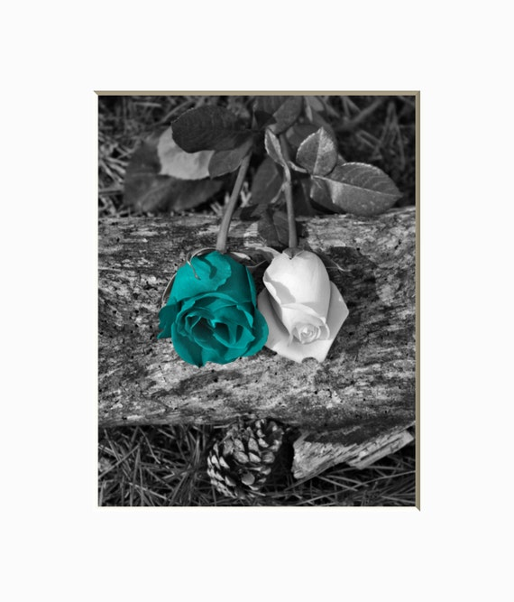 Black white teal rose flower wall decor teal wall picture for Black and white rose wall mural
