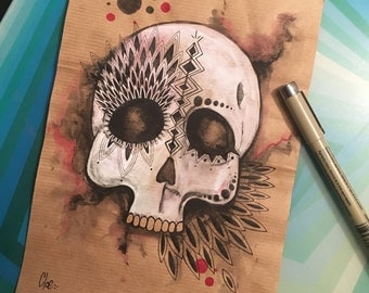 Skull. Original drawing. Ink and watercolor. Cloé 2016