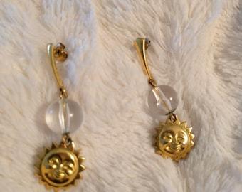Sun Moon Dangle Earrings