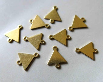 100pcs Raw Brass Triangle Connectors,Charms 12mm x 10mm - F483