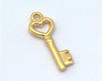 heart key charm gold on sterling silver , golden key charm , gold vermeil key charm , key to my heart gold charm